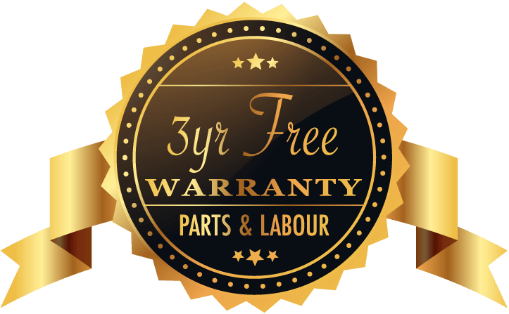 Three years free warranty including parts and labour